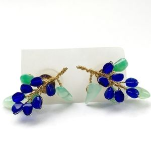 SAPPHIRE SKY Czech Chrysoprase Gold Earrings